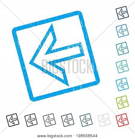 Arrow Left rubber watermark in some color versions.. Vector icon symbol inside rounded rectangle with grunge design and unclean texture. Stamp seal illustration, unclean sticker.