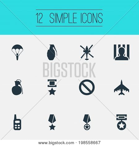 Elements Jailer, Copter, Medal And Other Synonyms War-Plane, Prisoner And Grenade.  Vector Illustration Set Of Simple War Icons.