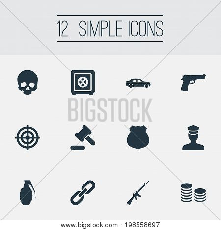 Elements Pistol, Cash, Explode And Other Synonyms Policeman, Sheriff And Pistol.  Vector Illustration Set Of Simple Fault Icons.