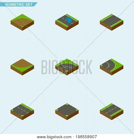 Isometric Road Set Of Driveway, Plash, Crossroad And Other Vector Objects