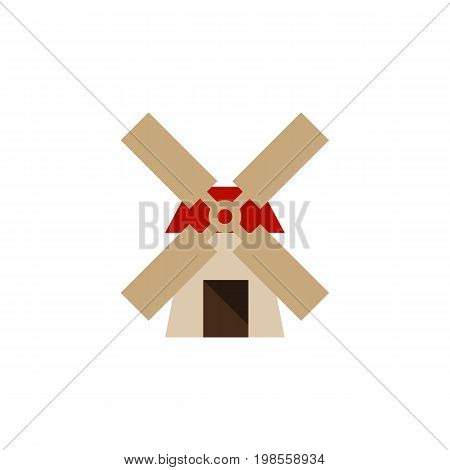 Power Vector Element Can Be Used For Windmill, Power, Farm Design Concept.  Isolated Windmill Flat Icon.