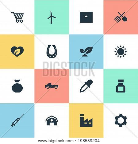 Elements Turbine, Care, Pesticide And Other Synonyms Holdall, Industry And Store.  Vector Illustration Set Of Simple Agricultural Icons.