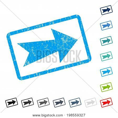 Arrow Right rubber watermark in some color versions.. Vector pictogram symbol inside rounded rectangular frame with grunge design and unclean texture. Stamp seal illustration, unclean sticker.