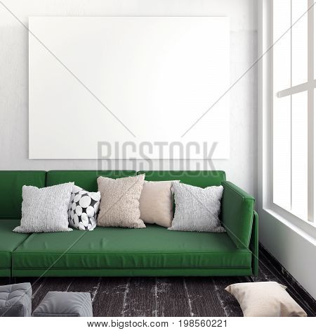Mock up poster in interior with sofa. living room. resting place. modern style. 3d illustration