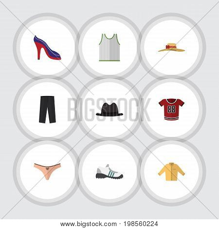 Flat Icon Dress Set Of Elegant Headgear, Pants, Banyan And Other Vector Objects