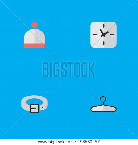 Elements Time, Clothes Hook, Strap And Other Synonyms Hanger, Wear And Time.  Vector Illustration Set Of Simple Accessories Icons.