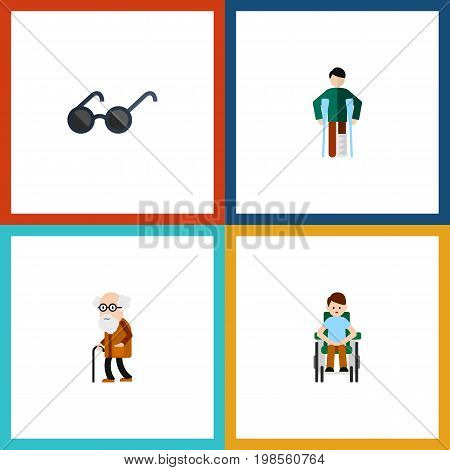 Flat Icon Cripple Set Of Ancestor, Disabled Person, Spectacles And Other Vector Objects