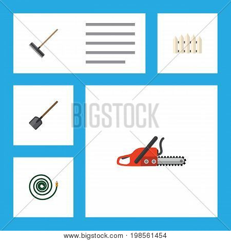 Flat Icon Dacha Set Of Wooden Barrier, Hosepipe, Hacksaw And Other Vector Objects