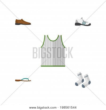 Flat Icon Garment Set Of Singlet, Sneakers, Foot Textile And Other Vector Objects