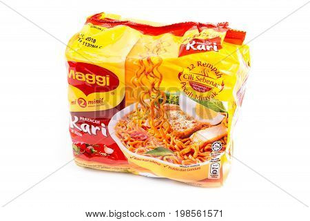 Selangor Malaysia: August 4 2017 - Malaysia famous instant noodle Maggi curry flavour on white background.