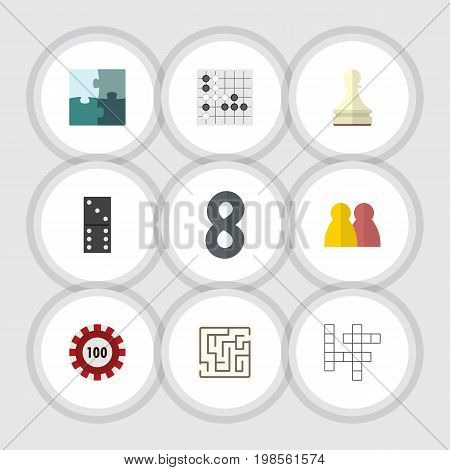 Flat Icon Entertainment Set Of People, Bones Game, Pawn And Other Vector Objects