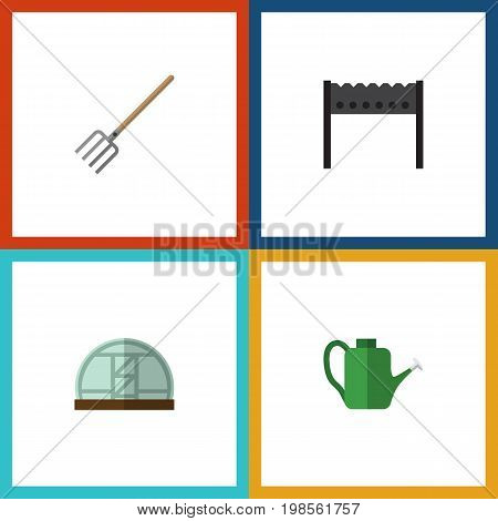 Flat Icon Dacha Set Of Hothouse, Hay Fork, Barbecue And Other Vector Objects