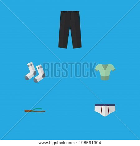 Flat Icon Clothes Set Of Pants, Beach Sandal, Casual Vector Objects