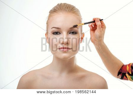 make up artist working on model eyebrows. Close up of beautiful face of young woman getting make-up.