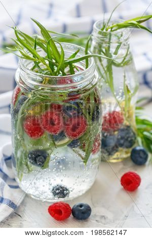 Drink Of Ripe Blueberry, Raspberry And Tarragon.