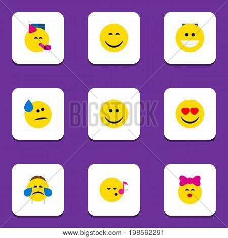 Flat Icon Emoji Set Of Caress, Descant, Cold Sweat And Other Vector Objects