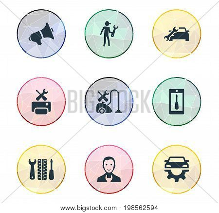 Elements Notice, Servant, Wheel Service And Other Synonyms Master, Announcement And Wheel.  Vector Illustration Set Of Simple Support Icons.