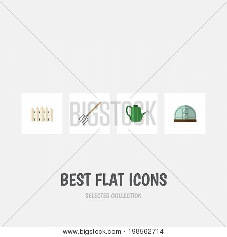 Flat Icon Dacha Set Of Hay Fork, Bailer, Wooden Barrier And Other Vector Objects