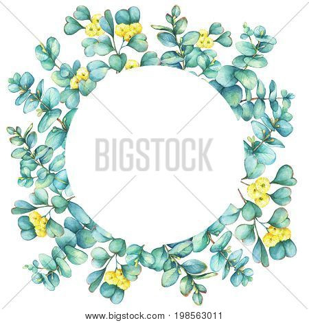 Round wreath with a branches of silver-dollar eucalyptus (Eucalyptus cordata) and Eucalyptus websteriana (Heart-leafed), isolated on white background. Watercolor hand drawn painting illustration.
