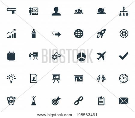 Elements Rising Up, Efficient, Team And Other Synonyms Staff, Opposite And Spaceship.  Vector Illustration Set Of Simple Strategy Icons.