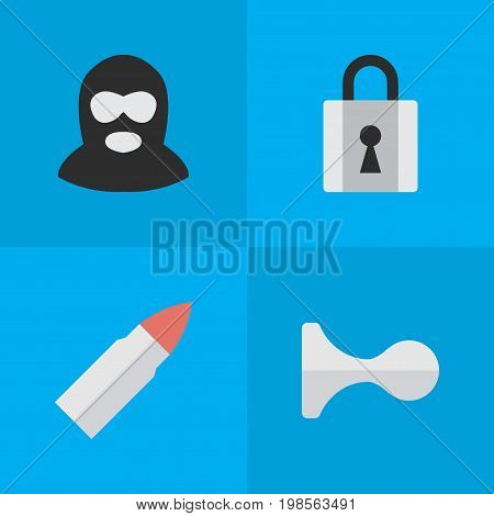 Elements Closed, Criminal, Shot And Other Synonyms Horns, Criminal And Gun.  Vector Illustration Set Of Simple Criminal Icons.