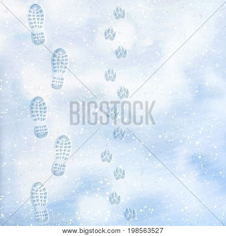 Human and dog footprints on surface white winter snow. Overhead view. Texture of snow surface. Vector, illustration background.