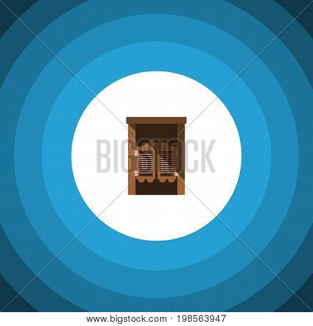 Saloon Vector Element Can Be Used For Saloon, Wooden, Door Design Concept.  Isolated Western Wooden Flat Icon.