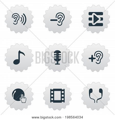 Elements Increase, Ear, Web Player And Other Synonyms Hear, Music And Dj.  Vector Illustration Set Of Simple Play Icons.