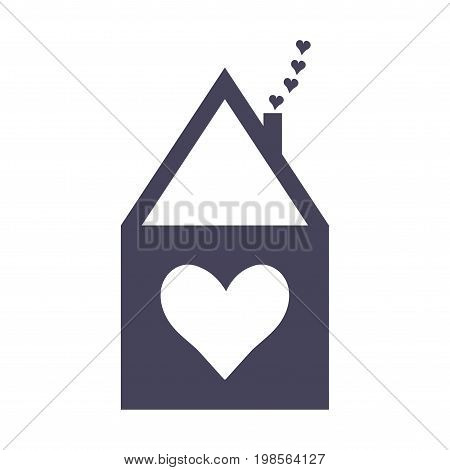 Home Sweet Home icon or vector label. House symbol with a heart symbol. Housewarming sign.