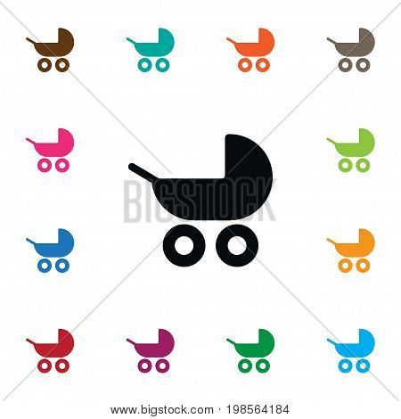 Pram Vector Element Can Be Used For Buggy, Pram, Stroller Design Concept.  Isolated Buggy Icon.