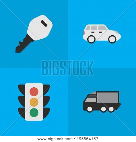 Elements Open, Suv, Lorry And Other Synonyms Truck, Key And Crossover.  Vector Illustration Set Of Simple Traffic Icons.