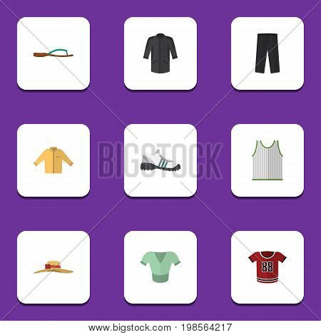Flat Icon Garment Set Of Uniform, Singlet, Casual And Other Vector Objects