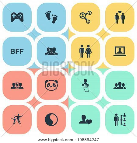 Elements Love, Controller, Crowd And Other Synonyms Gay, Men And Profile.  Vector Illustration Set Of Simple Fellows Icons.