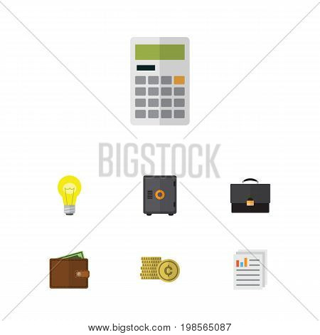 Flat Icon Finance Set Of Cash, Bubl, Document And Other Vector Objects