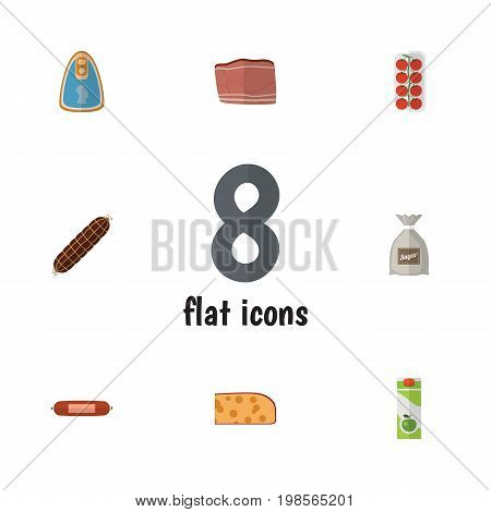 Flat Icon Meal Set Of Canned Chicken, Beef, Sack And Other Vector Objects