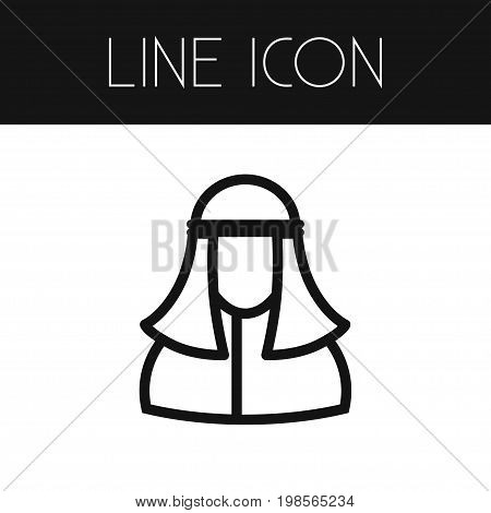 Muslim Vector Element Can Be Used For Muslim, Person, Mohammedanism Design Concept.  Isolated Person Outline.