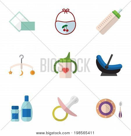 Flat Icon Baby Set Of Cream With Lotion, Napkin, Pram And Other Vector Objects
