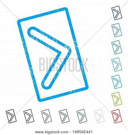 Arrowhead Right rubber watermark in some color versions.. Vector pictogram symbol inside rounded rectangle with grunge design and scratched texture. Stamp seal illustration, unclean emblem.
