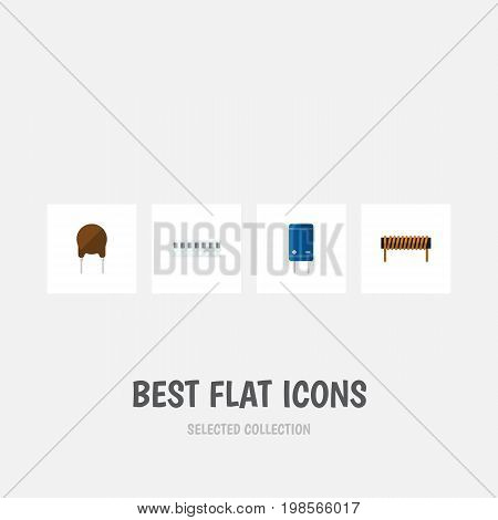 Flat Icon Device Set Of Triode, Bobbin, Transistor And Other Vector Objects
