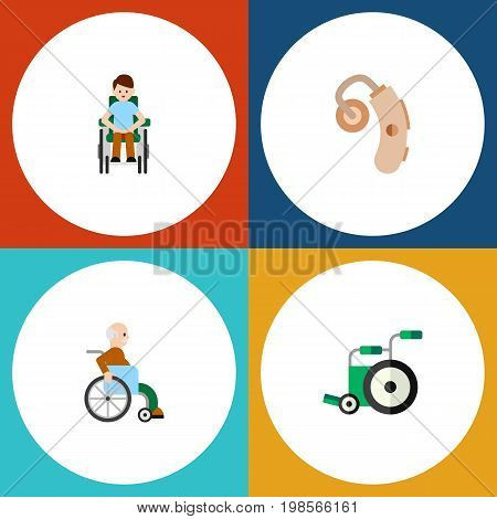 Flat Icon Handicapped Set Of Audiology, Handicapped Man, Disabled Person Vector Objects