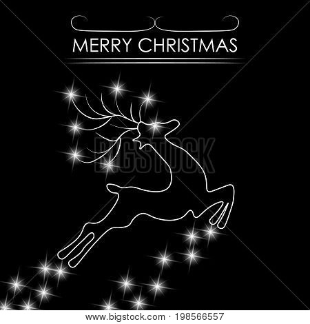 Christmas card. Abstract silhouette of a deer. Vector illustration