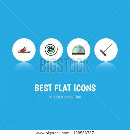 Flat Icon Dacha Set Of Hacksaw, Hothouse, Hosepipe And Other Vector Objects