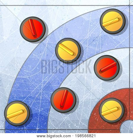 Curling winter game. Ice and stone, team and rink, competition brushing and slip. Flat vector illustration.