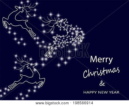 New Year s, Christmas card. Abstract silhouette of deer in the starry sky. Vector illustration