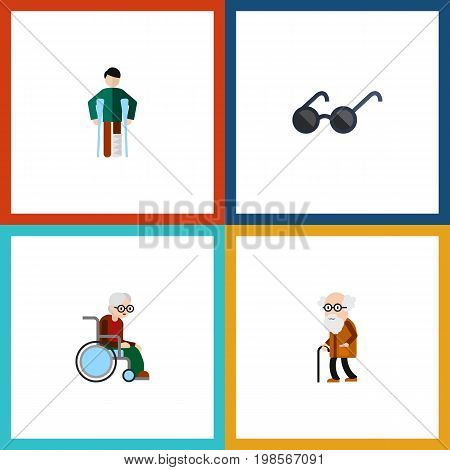 Flat Icon Disabled Set Of Wheelchair, Spectacles, Ancestor And Other Vector Objects