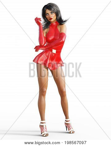 Woman in red leather dress. Short skirt. Bright makeup. Conceptual fashion art. Blue  eyes. Seductive candid pose. Realistic 3D render illustration. Studio, Isolate, high key.