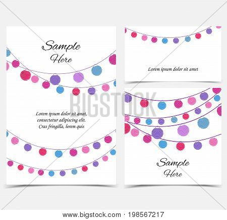 Vector illustration with a chain of colored lanterns. Happy birthday card, party celebration. Set of greeting cards
