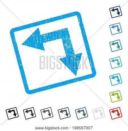Bifurcation Arrow Left Down rubber watermark in some color versions.. Vector icon symbol inside rounded rectangular frame with grunge design and scratched texture. Stamp seal illustration,