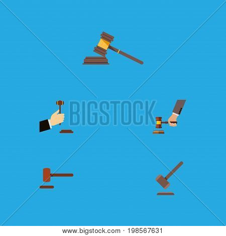 Flat Icon Hammer Set Of Court, Law, Defense And Other Vector Objects