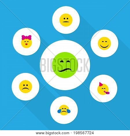 Flat Icon Expression Set Of Displeased, Smile, Frown And Other Vector Objects